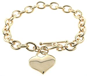 Amazon.com: Designer Inspired Gold Heart Charm Toggle