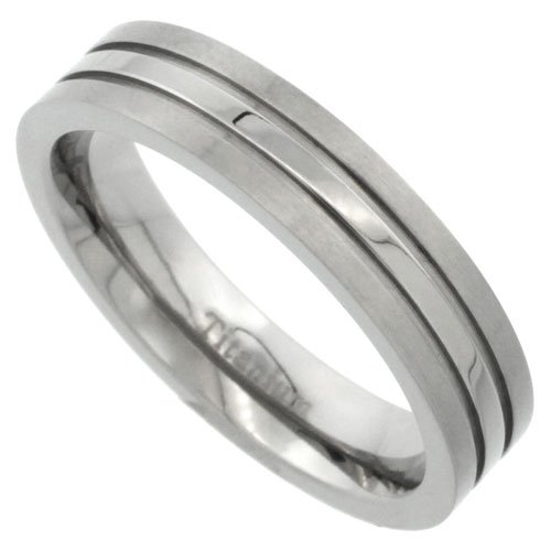 Titanium 5mm Titanium Flat Wedding Band Ring Stripe Center Comfort-fit, size 10