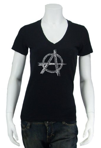 Women's Black Anarchy V-Neck Shirt Large - Created using a list of some of the best and most popular Punk Songs of All Time