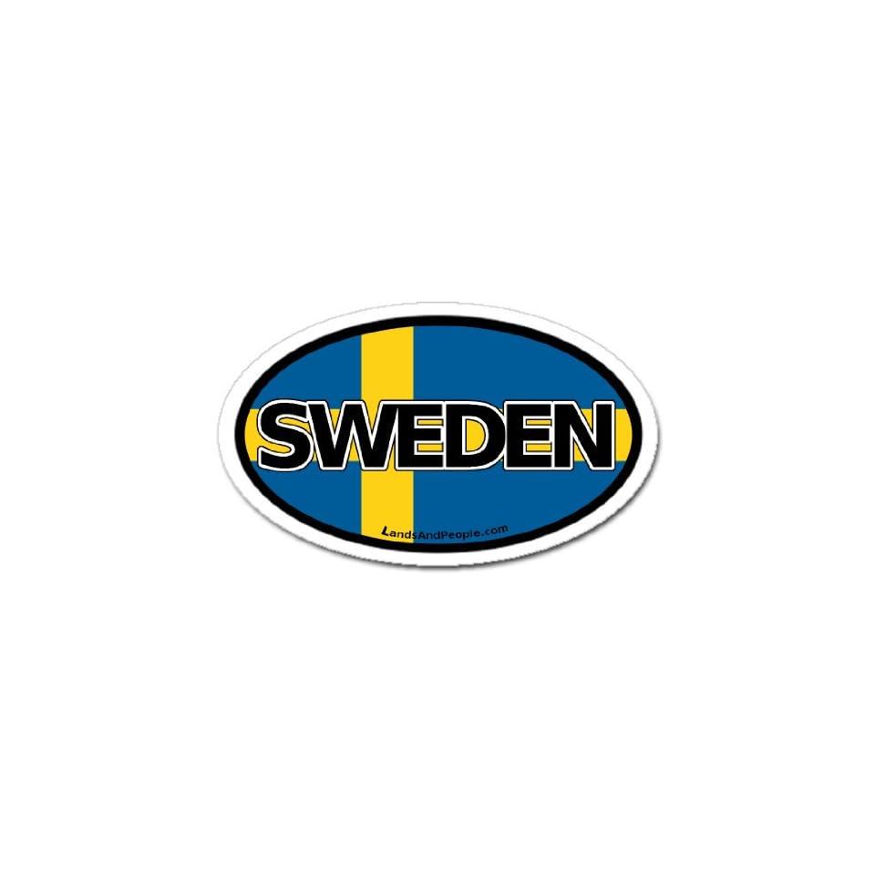 Sweden Swedish Flag Car Bumper Sticker Decal Oval