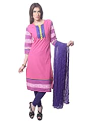 Saving Tree Pink Cotton A Line Suit With Matching Contrast Legging And Dupatta - B00QIEJSSM