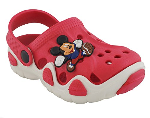 Lil Firestar Unisex Kids Eva Sandals Crocs Clogs_Red & White_8KIDSUK/26EU  available at amazon for Rs.419
