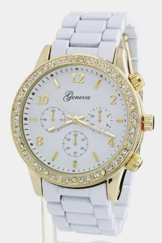 Trendy Fashion Jewelry Crystal Case Chrono Look Watch By Fashion Destination | (White/Gold)
