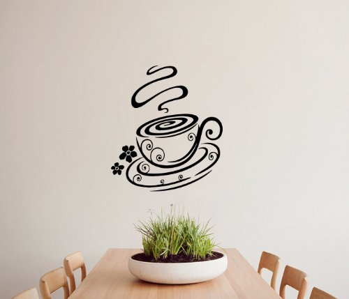 Housewares Vinyl Decal Coffee Cup Flower Cafe Kitchen Bakery Decor Home Wall Art Decor Removable Stylish Sticker Mural Unique Design For Room