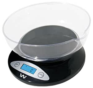 Weigh Masters Precision+ ProChef 5kg. / 11lbs. Kitchen Scale W / Bowl (Black)