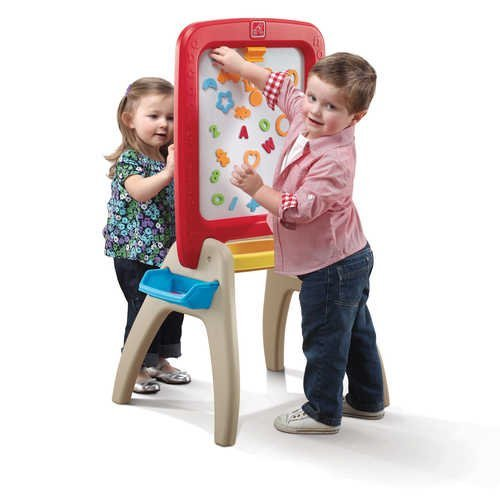 Comes With A 94 Piece Foam Letter And Symbol Set - Step2 All Around Easel for Two, Red/Yellow/Tan