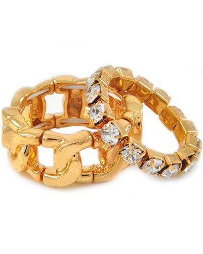 Gold Tone Metal Clear Rhinestone Stretch Ring