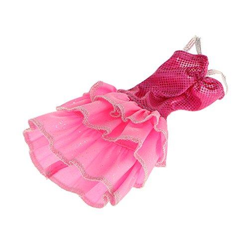 Muecas-Fashion-Ropa-Correa-de-Plata-Rosada-de-3-Capas-Mini-Vestido-Corto-para-Barbie