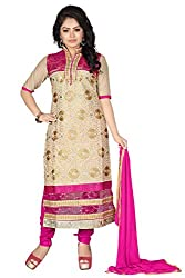 JHEENU Pink Chiku Women's Chanderi unstitched Straight Salwar Suit dress mate...