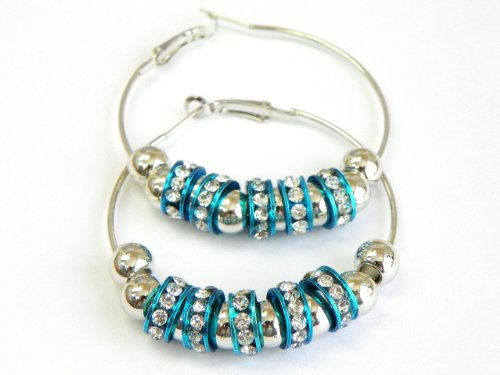 VERY POPULAR 50MM HOOP EARRINGS WITH CRYSTAL BEADS(COMES WITH GIFT BOX)
