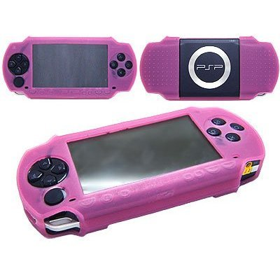 Pink Silicon Skin Cover for Sony PSP 3000 + Car Charger Cigarette Lighter Adapter for Sony PSP