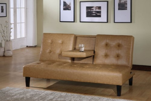Kings Brand Tan Vinyl Full Size Klik Klak Sofa