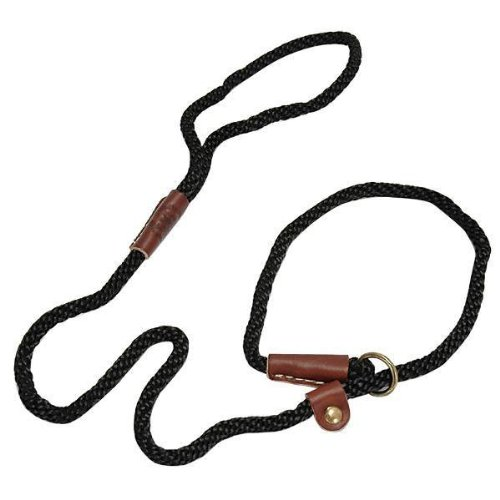Mendota Dog Products British Style Slip Leash, 1/2-Inch by 4-Feet, Black