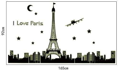 Elegant Order Peel N Stick Glow in the Dark Effiel Tower Black Paris Skyline Wall Decal inches x inches Price