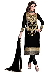 Manvaa Sumptuous Black Georgette Embroidered Dress Material-KMR6101