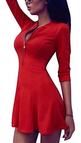 LaoZan Vestiti Donna Collo V Zip Manica 3/4 Vintage Cocktail Abiti Mini Abito Vestito Corto Rosso S