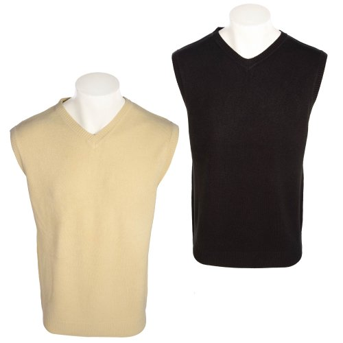 Harbour Classic Men's 2 Pack Black & Stone V-Neck Easycare Tank Tops in Size Large