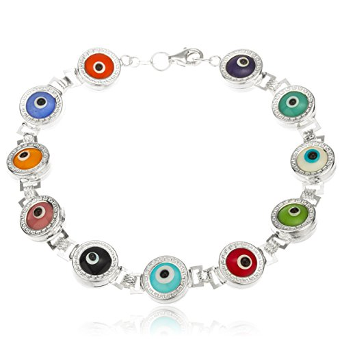 925 Sterling Silver With Multicolor 8 Inch Evil Eye Bracelet [Jewelry]