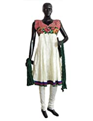 Parsi Embroidered Applique Work And Red Banarasi Neckline On Off-White Self Design Cotton Anarkali Churidar Kurta...