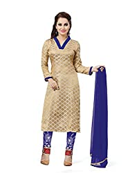 Gold Jacquard Silk Embroidered Unstitched Dress Material
