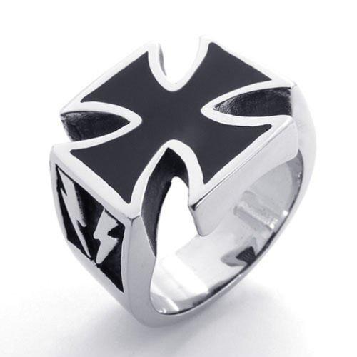 (キチシュウ)Aooazジュエリー メンズステンレスリング指輪 ファッションクロス十字架デザイン ブラックとシルバー 高品質のアクセサリー 日本サイズ14号(USサイズ7号)