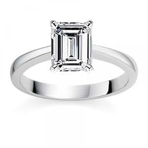 Diamond Manufacturers - Bague de fiancailles avec diamant Émeraude Femme - Platine - Diamant 0.40 ct