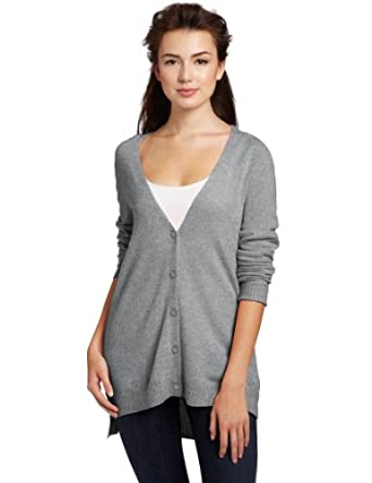 Christopher Fischer Women's 100% Cashmere Cardigan Sweater, Mid Grey Heather, Large