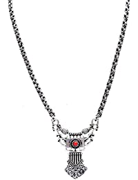 Sansar India Oxidized Silver Plated Mini Coins Red Stone Pendant Necklace For Girls And Women