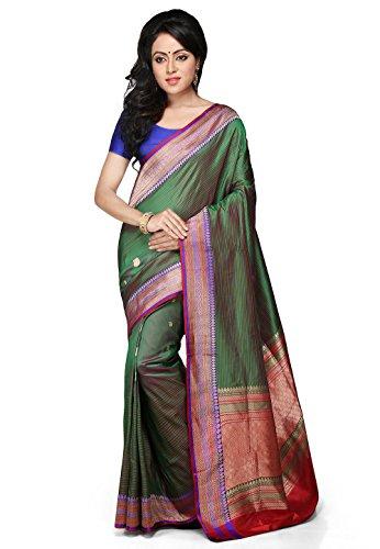bb192152988d6c Utsav Fashion Women's Dark Green and Red Pure Banarasi Silk Handloom Saree  with Blouse