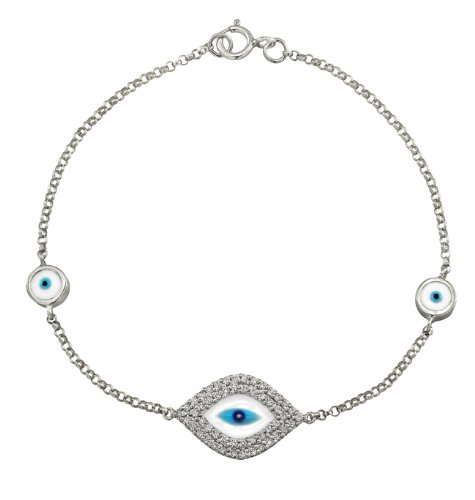 14K White Gold Diamond And Enamel Evil Eye Bracelet (1/3Cttw, Ij, I1-I2)
