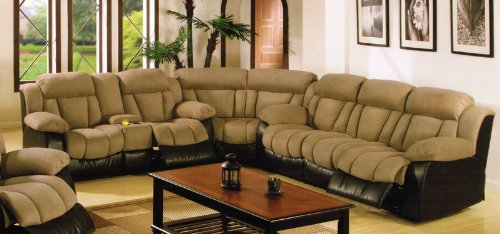 Bon Sectional Reclining Sofa With Console: Sectional Recliner Sofa With Cup