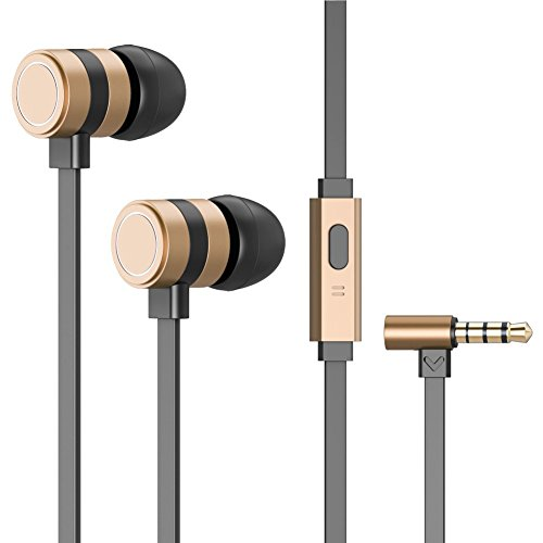 Besiva-In-ear-Noise-isolating-High-Resolution-HeadphonesEarbudsEarphones-with-Mic-Gold