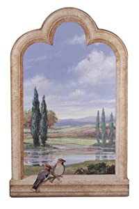 Stupell Home Decorative Faux Window Scene, Birds and Cypress Trees, 22 by 33-Inch