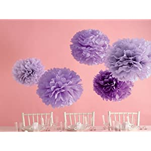 wedding reception decoration ideas, martha stewart purple pom poms