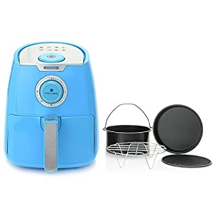 Air Fryer 3.5 Qt. by Paula Deen with a Ceramic Nonstick Basket and 4 Piece Accessory Set, Orchid Blue, Great in Cooking Different Kinds of Food