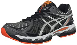 ASICS Men's GEL-Nimbus 15 Running Shoe,Storm/Black/Flash Orange,10 M US