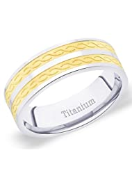 7 Mm Peora Titanium Two Tone Men's Band Ring With Diagonal S Curve Design (TR216)