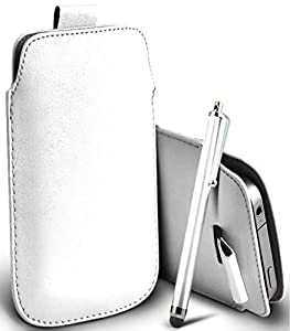 Great Deals on Click Sales®, White, Samsung I9190 Galaxy S4 mini, Samsung I8190 Galaxy S III mini, S IV mini, Samsung I9192, PU PULL TAB, Flip Grip Protective POUCH WALLET SKiN POCKET LEATHER CASE COVER + Stylus Pen (White)