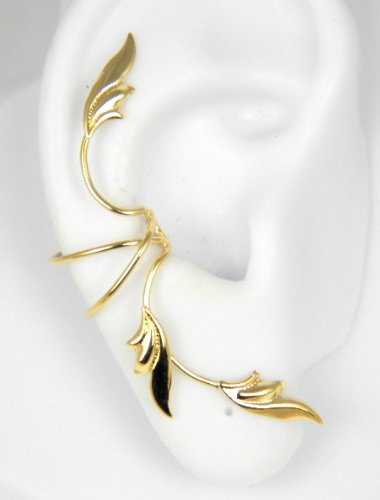 Gold Vermeil 3 Delicate Leaves Full Ear Cuff for Right Ear