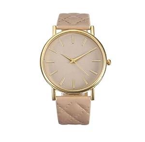 SMTSMT Women's Leather Band Wrist Watch-Beige by SMTSMT