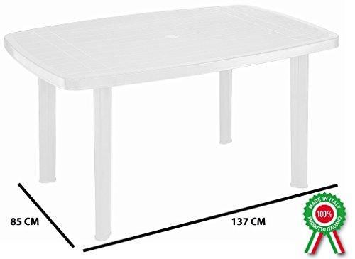 Tavolo tavolino rettangolare in resina di plastica bianco faro per esterno interno casa