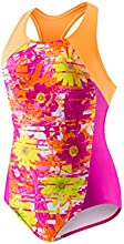 Speedo Little Girls39 Fractured Floral Side Splice 1 Piece