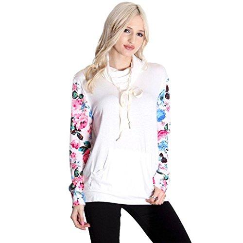 camicia floreale delle donne, FEITONG casual camicia stampata camicetta top sciolto (XL, bianca)