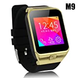 Lincass M9 1.55''sim Bluetooth Bracelet Watch Smartwatch Support for Iphone Samsung Gear Note4 HTC Android Clock (Gold)