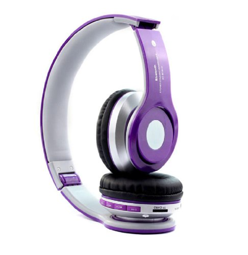 Doinshop Foldable Wireless Bluetooth Stereo Headset Mic For Iphone Samsung Htc (Purple)