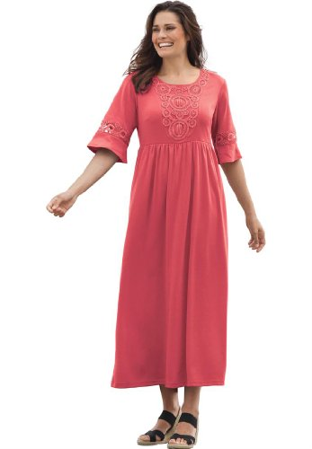 Plus Size Dress In Maxi Length With Crochet Trim (Fresh Strawberry,3X)