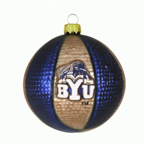 "Brigham Young (BYU) Cougars 3 1/2"" Glass Basketball Ornament (Set of 2)"