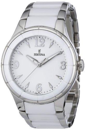 Festina F16623/1 - Reloj analógico de cuarzo para mujer con correa de acero inoxidable, color blanco