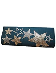 Spice Art Embroidered Green Clutch