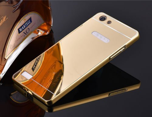 RR Luxury Metal Bumper Acrylic Mirror Back Cover For OPPO NEO 7 - GOLD